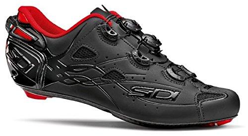 Sidi Herren Fahrradschuhe Shot schwarz/matt schwarz mit rotem Futter 41