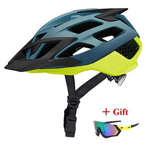 CascosDeCiclismoMultiuso Casco de bicicleta MTB más nuevo con gafas de sol Casco de bicicleta de montaña ultraligero Casco de bicicleta de montaña Cascos de ciclismo de carreras en molde-Amari