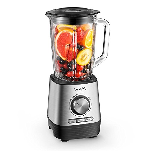 VAVA Professional Countertop Blender, Electric Blender/Food Processor with 500W Base, 1500 ml Glass Jar, Variable Speed Control for Smoothies, Shakes and Frozen Drinks, VA-EB018