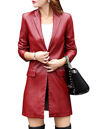 Tanming Womens Casual Lapel Long Leather Jacket Suit Coat Windbreaker Trench Coat (Wine Red, X-Large)
