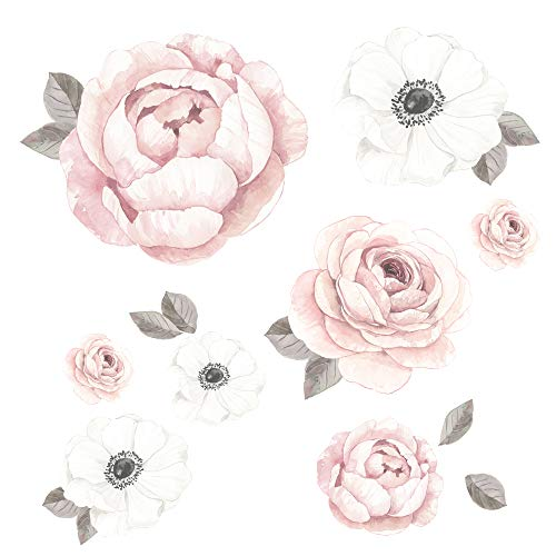 Lambs & Ivy Floral Garden Large Pink/White Watercolor Flowers Wall Decals