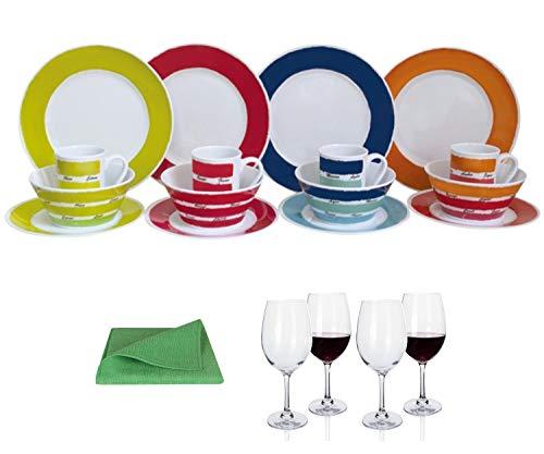 Moritz - Vajilla de melamina para 4 personas, diseño de colores + 4 copas de vino tinto Tiamo + 1 paño de microfibra verde para camping