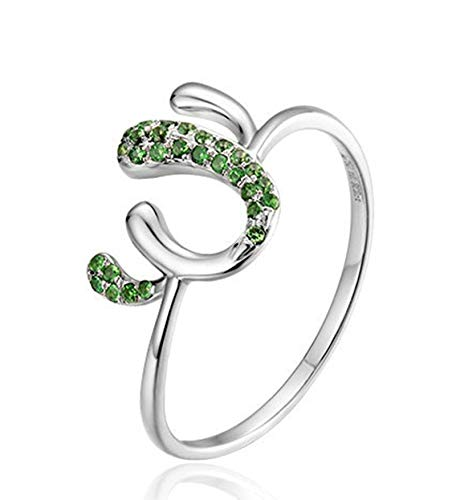 Rubyia Engagement Ring 18 carat White Gold 0.202ct Green Tsavorite Round with Cactus Size U½