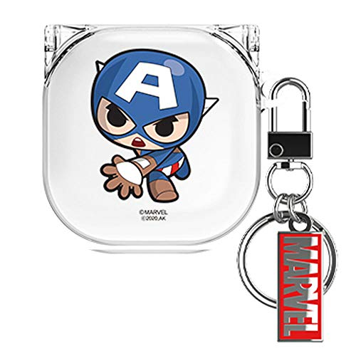 Cutie Clear Case Cover with Avengers Character for Samsung Galaxy Buds Pro/Buds Live (Captain America)