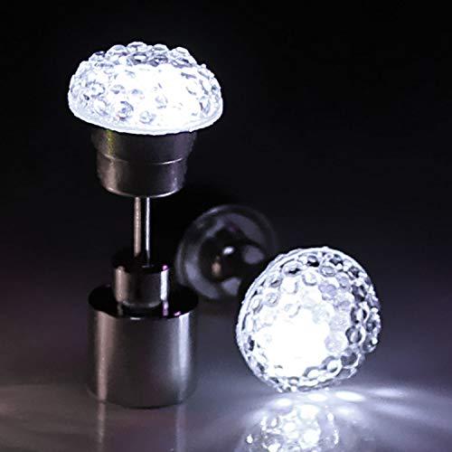 LED Magic-Ohrstecker - auffallender leuchtender LED Ohr Schmuck Blickfang bei Festivals und Partys Farbe Weiss