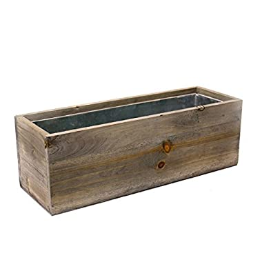 CYS EXCEL Planter Box, Wood Planter, Wood Rectangle Window Box Wood Planters with Removable Zinc Liner, 8 Sizes Available (1, H:5  Open:12x4)