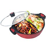 MAISON HUIS Double-Flavor Die Cast Alum Hot Pot, with Glass Lid and Divider,Shabu Shabu Pot with Nonstick Granite Coating,for Home Party Family Gathering 11.81inch Diameter 4.4 Quart