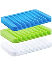 Soap Dish Tray Saver Holder Drainer Shower Waterfall for Bathroom/Kitchen/Counter Top, Keep Bars Dry Easy Cleaning Flexible Silicone, soap Dish, White, 3 Pack