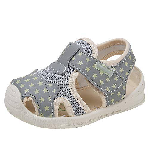 Baby Summer Sandals Mesh Rubbler Sole Outdoor Athletic Strap Breathable Closed-Toe for Boys Girls (16(Inside length-11.5cm)(9-12months), Grey)