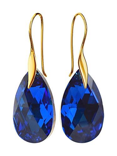 Crystals & Stones - Orecchini pendenti da donna placcati oro *MANDELE* 22 mm * zaffiro * Bellissimi orecchini da donna con cristalli compatibili per Swarovski – meravigliosi orecchini con custodia