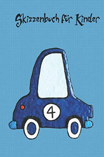 Skizzenbuch oder Zeichenheft für Kinder mit 110 Seiten und einem blauen Auto auf dem Cover: Im handlichen Format 6x9 inch, um es überall hin mitnehmen zu können.
