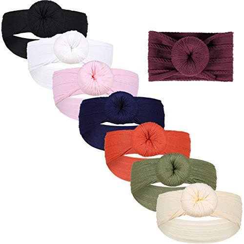 Gacimy Baby Girl Headbands Knotted Hair Bows Nylon Elastic Turban Headwrap Accessories