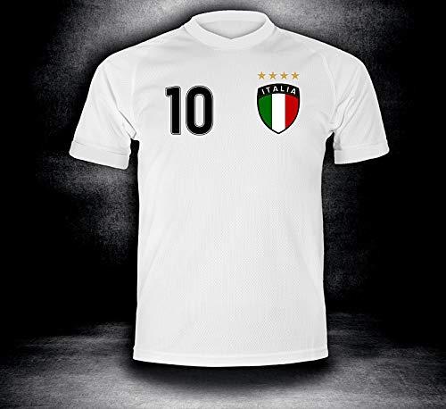DE-Fanshop Italien Trikot 2018 mit GRATIS Wunschname Nummer im EM WM Weiss Typ #IT1t - Geschenke für Kinder Erw. Jungen Baby Fußball T-Shirt Bedrucken Italia