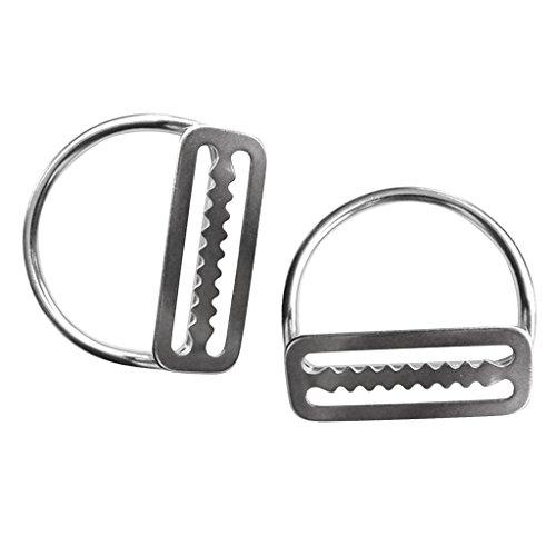 MagiDeal 2 Stücke Edelstahl Tauchen Sport Bleigurt Bleigürtel Schnalle Gürtelschnalle mit D Ring, passend für 5cm Gurtband