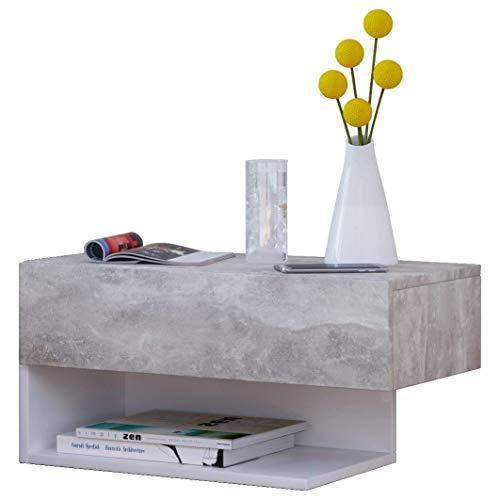 VCM Dormal Maxi vägg sängbord/nattduksbord/sidobord byrå, trädekor, betongoptik/vit, 15 x 60 x 31,5 cm