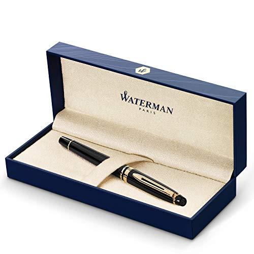 Waterman Expert stylo plume | noir brillant avec attributs dorés à l or fin 23k | plume fine | coffret cadeau