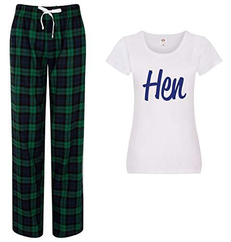 60 Second Makeover Limited Pyjama für Damen, mit Schottenkaro, Hose, Pyjama, Hochzeit, Junggesellinnenabschied., grün, 34