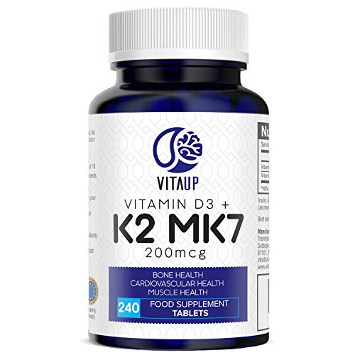 VitaUp Vitamin D3 4000 IU & Vitamin K2 MK7 200 mcg - Vitamin D3 K2 240 tbl / 8 Months Supply - Improved Premium Quality D3 and K2 Vitamin - Powerful Support for Bones Muscle Blood & Immunity Vitamin K