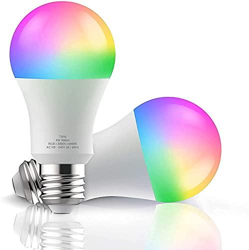 Bombilla Smart Light Bulb, WiFi, bombilla Alexa, bombilla inteligente, compatible con Amazon Alexa Echo, Echo Dot Google Home, no requiere hub (2 unidades)