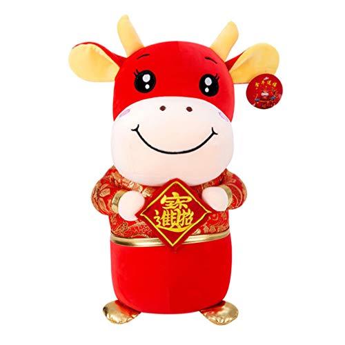 jojofuny Juguetes de Peluche de Vaca de La Suerte Año Nuevo Chino Zodíaco Animal Mini Peluche de Ganado de Buey Mascota Muñeca Roja de La Buena Suerte Ornamento Niños Almohada Regalo 20Cm