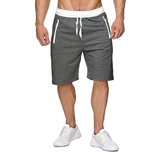 Pantalones Cortos para Correr para Hombre, Pantalones Cortos de Cinco Puntos con Cintura elástica, Bolsillo con Cremallera 34