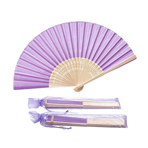 Sepwedd 50pcs Violet Imitated Silk Fabric Bamboo Folded Hand Fan Bridal Dancing Props Church Wedding Gift Party Favors with Gift Bags