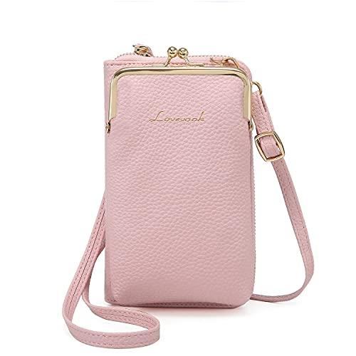LOVEVOOK Borsa a tracolla da donna con portamonete, borsa a tracolla da donna con scomparti per carte di credito per iPhone Sumsung M (6,5 pollici) L (7 pollici), Colore: rosa., M(6,5 Zoll)
