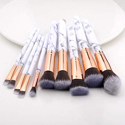 Yener 10 Pcs Pinceau de Maquillage Set Outils Poudre Fondation Fard À Paupières Lip Eyeliner Blush Marbre Visage Brosses De Maquillage, 10 pcs Blanc