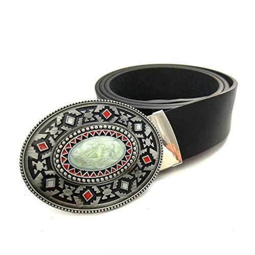 JYWDZSH Cinturón Hombre Cinturón De Cuero Negro para Hombre, Hebilla De Cinturón De Vaquero, Color Piedra, Mosaico, Decoración, Cinturones, Regalo, como Se Muestra, 100 Cm