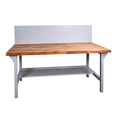 ADB Werkbank Werktisch Arbeitstisch mit Buchenplatte + Lochwand 1500x800x850 mm