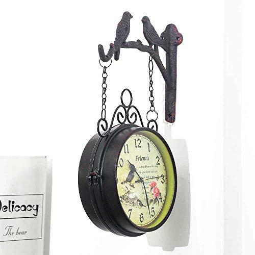 WHDMNet Europeo Retro Creativo Reloj De Pared,Bar Cafe Colgando Silencioso Moda Doble Cara Reloj De Pared,Hierro Vintage No-Tic-TAC Mudo Reloj De Pared Marrón 43x20cm(17x8inch)