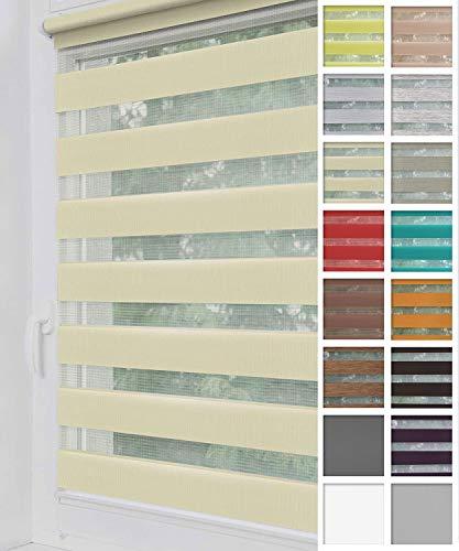 Home-Vision® Duo Rollo Klemmfix, Doppelrollo ohne Bohren mit Klämmträgern, Rollos für Fenster und Türen (Creme, B40cm x H150cm)