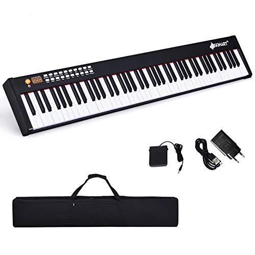 DREAMADE MIDI Keyboard mit Bluetooth, Digital Piano mit 88 Tasten, Elektronisches Klavier mit 128 Rhythmen/Klänge & 20 Demo-Songs, Elektronisches Piano mit Tragetasche