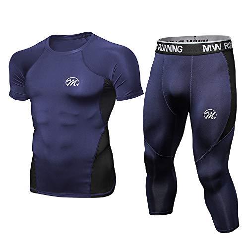 MEETWEE Abbigliamento Sportivo Uomo, Quick Dry T Shirt Compressione with Gym Pantaloni, 3/4 Leggings Palestra Running Collant per Cyclette Hiking