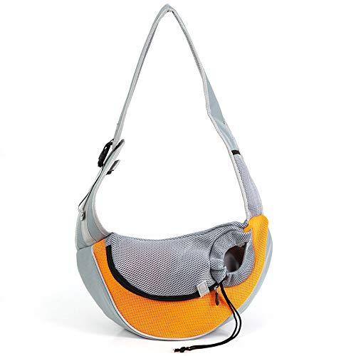 Small dimple Pet Sling Carrier Hands Free Sling Carrier Travel Bag Collapsible Sling Backpack Adjustable Padded Shoulder