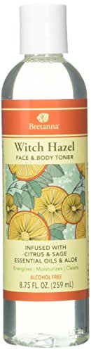Witch Hazel Face & Body Toner Infused with Citrus Sage Aloe Essential Oils 8 Ounces by Bretanna