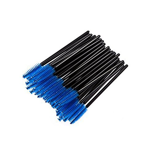 50Pcs Jetable Eyelash Black Mascara Wand Applicateur Brosse Cosmetic Eye Wands Brush Makeup Applicators (Bleu)
