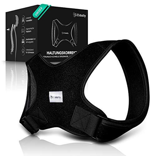 21daily Rücken Geradehalter - Premium Haltungskorrektur für eine ergonomische und gesunde Körperhaltung - Komfortabler Rückengurt zur Vorbeugung von Schmerzen - Männer und Frauen Unisex