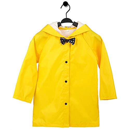 Aoduoer Kids Rain Jacket Packable Hooded Rain Coat for Girls Boys Toddlers Rain Gear, Halloween Cosplay Costumes (L/4T-5T, Yellow)