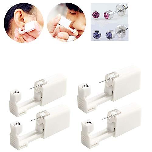 4Pcs Disposable Ear Piercing Gun with Ear Studs No Pain...