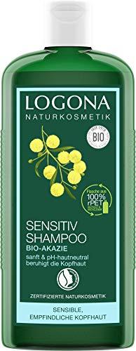 LOGONA natuurlijke cosmetica Sensitive shampoo bio-acacia, kalmeert gestreste & gevoelige hoofdhuid, zachte reiniging, met biologische plantenextracten & arginine, 250 ml