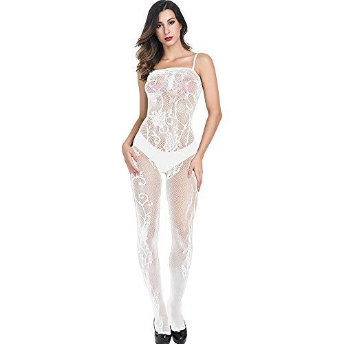 SamMoSon Le Donne Aprire Biforcazione Bodystockings Prospettiva Biancheria Intima Pigiama - Siamese Maglia dell'imbracatura Tuta Bianca Taglia Unica