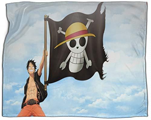 SSKJTC Manta de impresión digital de una pieza mono D. Luffy sombrero de paja bandera piratas sofá camping lectura coche viaje 50 x 60 pulgadas