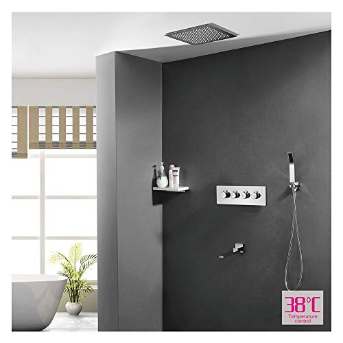 GUANGHEYUAN-J - Juego de ducha de mano para baño (válvula de cambio termostato, cascada de agua, grifo y boquillas de masaje, tamaño F)