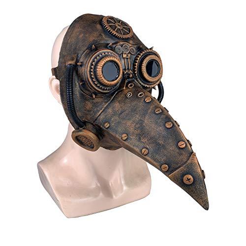 Yacn Neus Lange Pest Doctor Masker Vogel Pico Masker Dr. Beulenpest Zwart Bruin Cosplay Masker Halloween Accessoires voor volwassenen