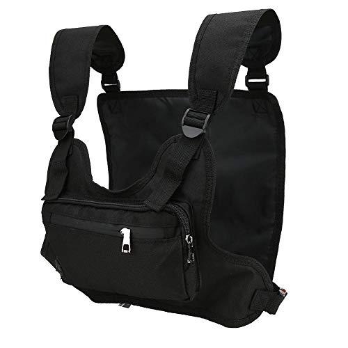 JULYKAI Lightweight Chest Pack, Multifunctional Sports Leisure Tactics Chest Backpack Fitness Vest Pocket Front Pack Holster Vest Rig Chest Pocket Black
