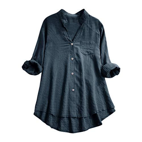 Andouy Damen Hemd Top Kariertes Langarm Leinen Plus Size Gr.38-46 Tunika Knopf Lose Bluse Übergroß(M(40),Marine)
