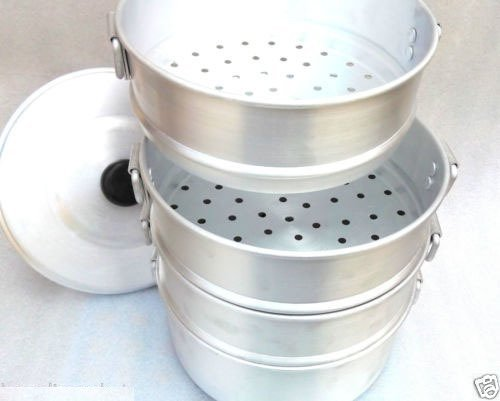 Zmatoo steam cooking steamer Heart patients aluminum momo steamer/boiled food/tamale steamer 3 strainer and one bowl/size 10.25 inch