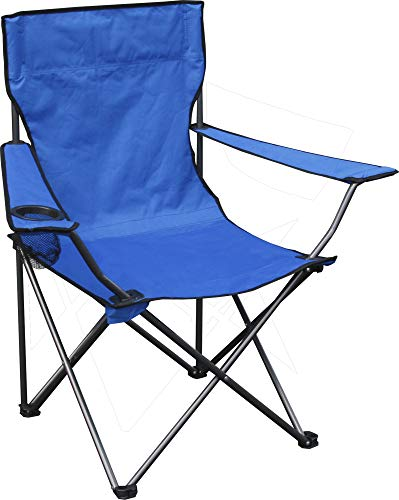 Quik Chair Portable Folding Chair with Arm Rest Cup Holder and Carrying and Storage Bag, Blue