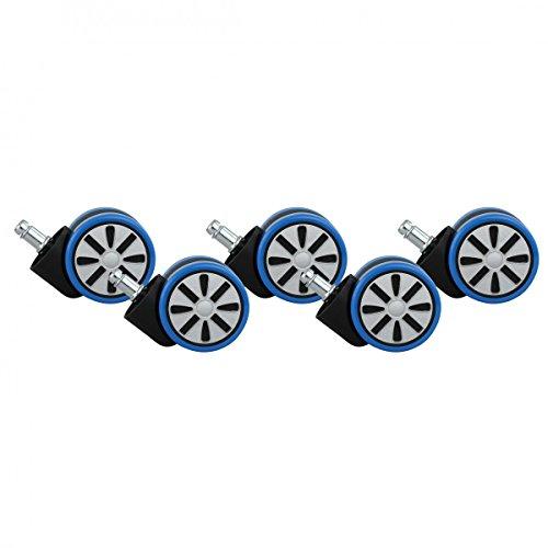 5er Set roulettes Design pour Chaise de Bureau Chaise de Bureau roulettes Bleu PIN 11mm / 60 mm de diamètre (roulettes de Sol Dur)